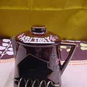 Tilso Redware Handpainted Tea Kettle Ash Tray Smoker