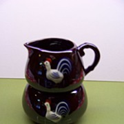 Redware Stackable Rooster Cream and Sugar Bowl  made in Japan