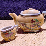Iridescent Miniature Teapot and Creamer Childs Teapot tea set Luster