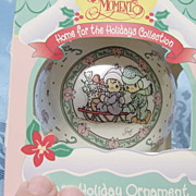 1995 Precious Moments Glass Holiday Ornament Sled With Runners