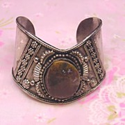 Unique Cuff Metal Bracelet with large Stone