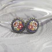 Intricate Rose Flower Mosaic earrings  Vintage Jewelry