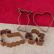 4 LARGE Copper Cookie Cutters Owl, Heart, Child or Gingerbread Man, Whale or Lamb