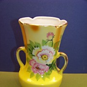 SOLD Gold Castle China Vase withPink Rosebud and Flowers on Yellow background