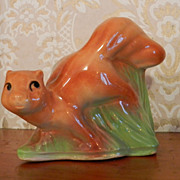 Charming Shawnee Pottery Squirrel on a Log planter