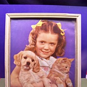Vintage Framed Picture  LITTLE Girl and Kitty and Puppy