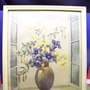 1941 Shabby Chic Cottage Flower Picture Lithograph