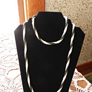 Vintage Crocheted Seed Bead Necklace in Black and White Stripes