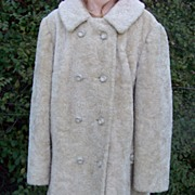 Vintage Country Pacer Plush Coat with Rhinestone Buttons 8 Med.