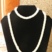 Vintage Crocheted Seed Bead Necklace  in white
