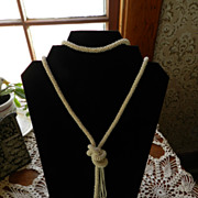 Lovely Vintage Crocheted Lariat Necklace  Fine beads