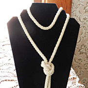 "Lovely Cream Vintage Crocheted Lariat Necklace   56"" long"