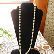 "71"" long Rope of Cream Beaded Necklace"