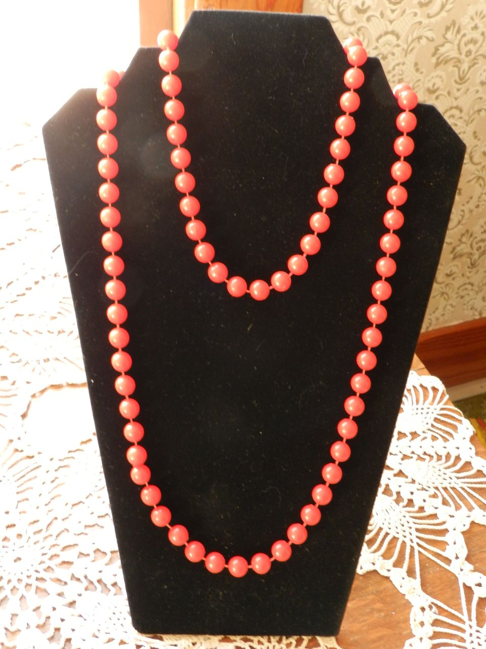 "Vintage 50"" long Red Bead Necklace"