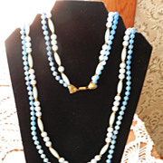 Vintage Costume Jewelry Blue Swirled Beaded Necklace