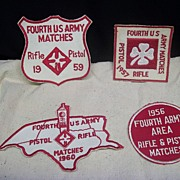 Military Rifle and Pistol Patches FOURTH US Army Matches Cloverleaf  Rifle and Pistols 1950's