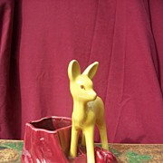 Shawnee Yellow Deer Pottery planter with Burgundy Pot # 624