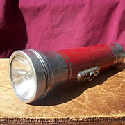 1950's Eveready Flashlight Red and Silver with black button Made in the USA
