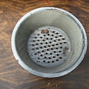 Antique Gray Graniteware Colander / Strainer Mottled Gray Enamelware