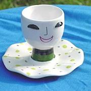 Egg Cup Collectible Smiley Face Eggcup Marked Japan