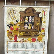 1970 Linen Kitchen Towel Calendar Spice Rack