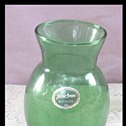 Anchor Hocking Forest Green Glass Vase with Original Foil Label