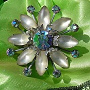 Gorgeous Scatter Pin of Iridescent Blue Rhinestones and Opalescent Gems