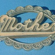 Vintage Soft Blue MOTHER pin  C-Clasp