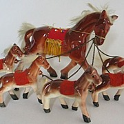 SOLD Vintage Ceramic Horse with 5 Foals wearing Mexican Blankets
