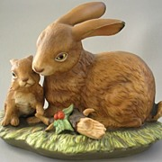 SOLD Homco Mother Rabbit with Baby Bunny Figurine or Statue