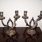 SALE Antique Candelabras French Rococo Bronze Pair 19th Century