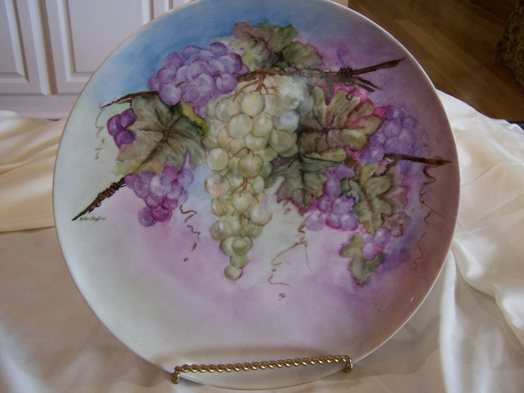 Large Charger Plate Hand Painted Bavarian Grape Wreath Signed