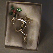 Christmas Pins Brooch Reindeer #2 1969 Unused Made in USA