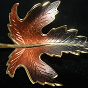 SALE Christmas Pins Leaf Brooch Bronze Metallic 1969 Unused Made in USA