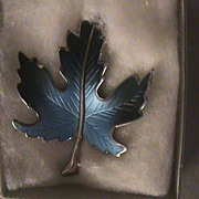 Christmas Pins Brooch Blue Leaf 1969 Unused Made in USA