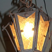 SALE Large Porch Light Lantern Amber Wavy Panels Hanging Hand Wrought w/ Heavy Orig. Chain