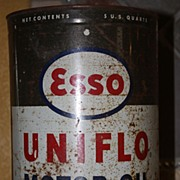 SALE Vintage Esso Logo Oil Can 5 Quart Memorabilia Exxon Happy Motoring