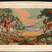 SALE Antique Needlework Tapestry Hunt Scene Fox Hounds Belguim Embroidery