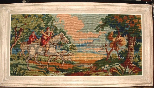 Antique Needlework Tapestry Hunt Scene Fox Hounds Belguim Embroidery