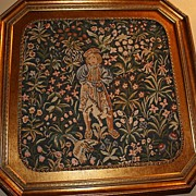 SALE Millefleurs Style Embroidery Tapestry French Boy with Cat By Tail Unusual Theme