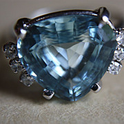 SALE Vintage Natural Aquamarine Diamonds 18K Ring Earrings Set  Custom Made Clean 8.50 Carats