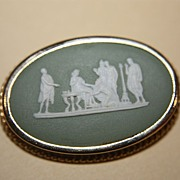 SALE English Wedgewood Wedgwood Blue Brooch Silver w/ Gold Wash Marked