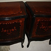 SALE Pair French Night Stands EndTables Commodes Roses Inlaid