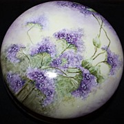 SALE Limoges Vanity Dresser Box Jar Porcelain Lavender Lilacs Large France