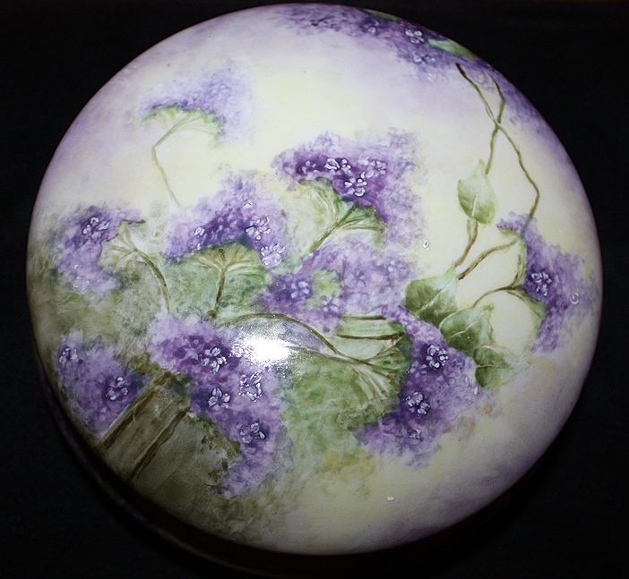 Limoges Vanity Dresser Box Jar Porcelain Lavender Lilacs Large France