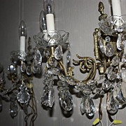 SALE Antique Pair Crystal Sconce Large Set Matching Swags