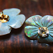 SALE Vintage 14K Earrings Studs Black Opal Carved Solid Opal Flowers