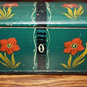 SALE Antique Miniature Blanket Chest Box 19c Signed Provenance Hand Painted