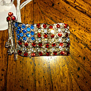 SALE Vintage Patriotic Flag Pin Brooch Red White Blue Rhinestones