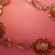 SALE Deco Cameo Shell Bracelet Filigree Links Amco 1/20 14K GF